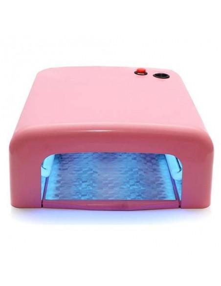 Уф лампа 36 Вт для гель лаков, розовая.