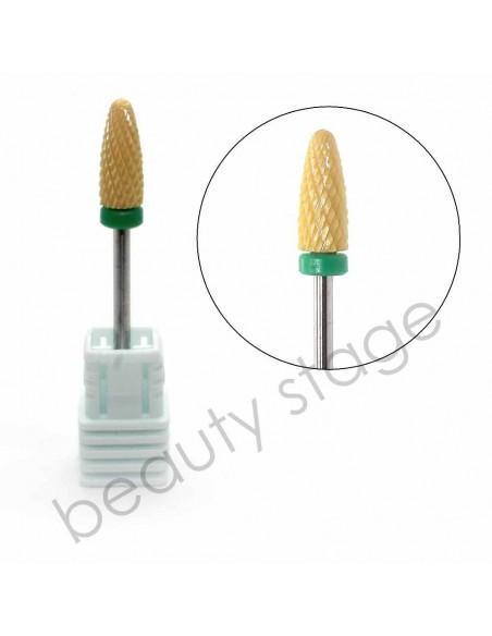 Фреза для маникюра керамическая кукуруза желтая C, грубая насечка