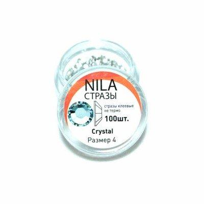 Nila стразы Crystal 100 шт. р4 банка в баночке