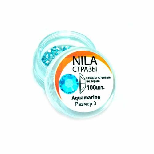 Nila стразы Aquamarine 100 шт. р3 в баночке