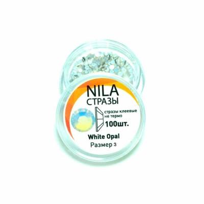 Nila стразы White Opal 100 шт. р3 в баночке