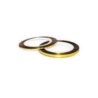 Липкая лента для дизайна ногтей шириной 1 мм., Золото 009