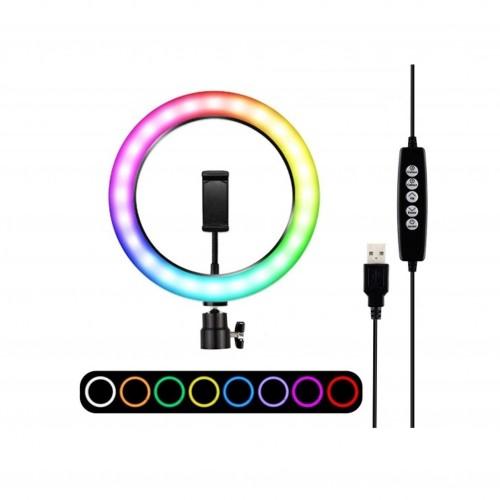 Кільцева LED лампа MJ33 RGB 33 см. зі...