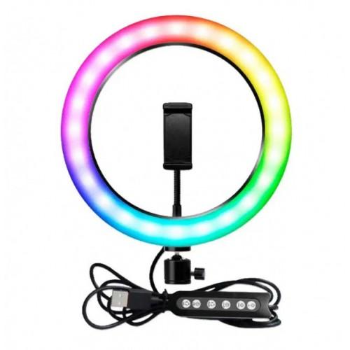 Кольцевая LED лампа MJ20 RGB 20 см....